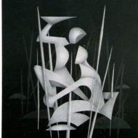 - OT - Bleistiftl auf Fotogramm - 30 x 40 cm - 2001