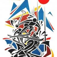 - SKI - Acryl auf Fotogramm - 50 x 60 cm - 1995l