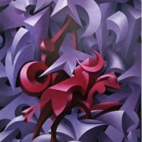 Kommunikation der Formen - EUROPA - Acryl auf Leinwand - 100 x 120 cm - 2002
