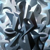 Kommunikation der Formen - SPACCO - Acryl auf Hartfaser - 100 x 80 cm - 2001