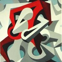 - UMARMUNG 1 - Acryl auf Baumvollpapier - 50 x 70 cm - 1991